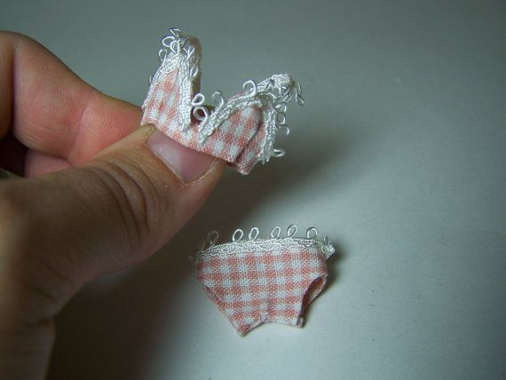 Pink and white checkered bra and panty set - 1/12th scale miniature