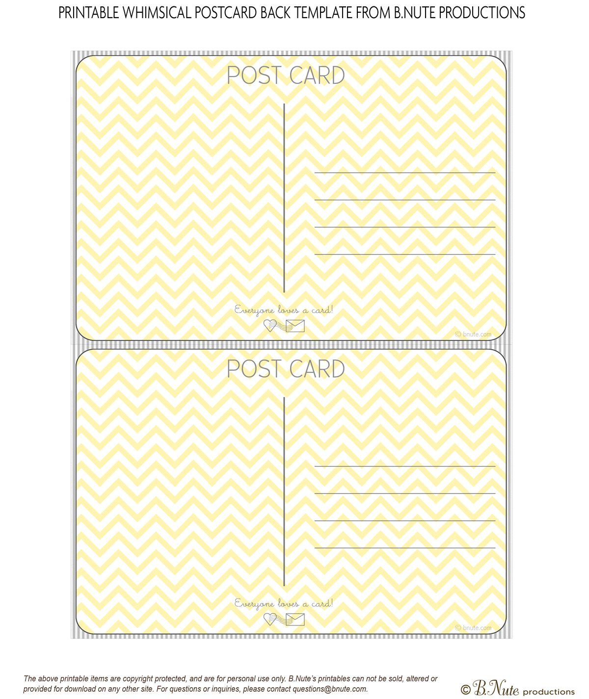 Bnute Productions: Scrapbook Paper Ideas: Perfect Postcards Including Free  Printable Postcard Template Backs  Postcard Template Free Printable