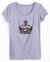 Grey Short Sleeve Imperial Crown Print T-Shirt $21.77  #SheInside