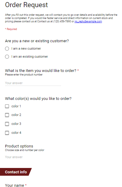 T Shirt Order Form Google Forms