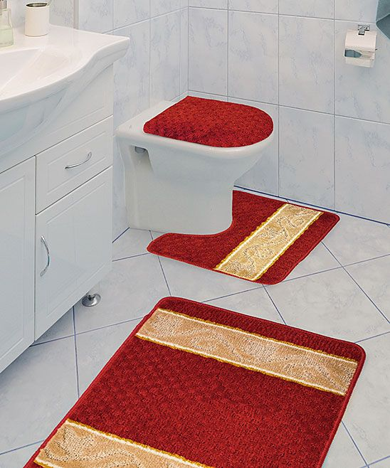 Burgundy Athena Three Piece Bathroom Rug Set Bathroom Rug Sets Bathroom Rugs Rug Sets