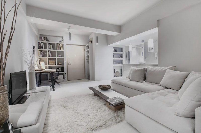 idée déco studio design avec meubles sobres et peinture gris perle ...