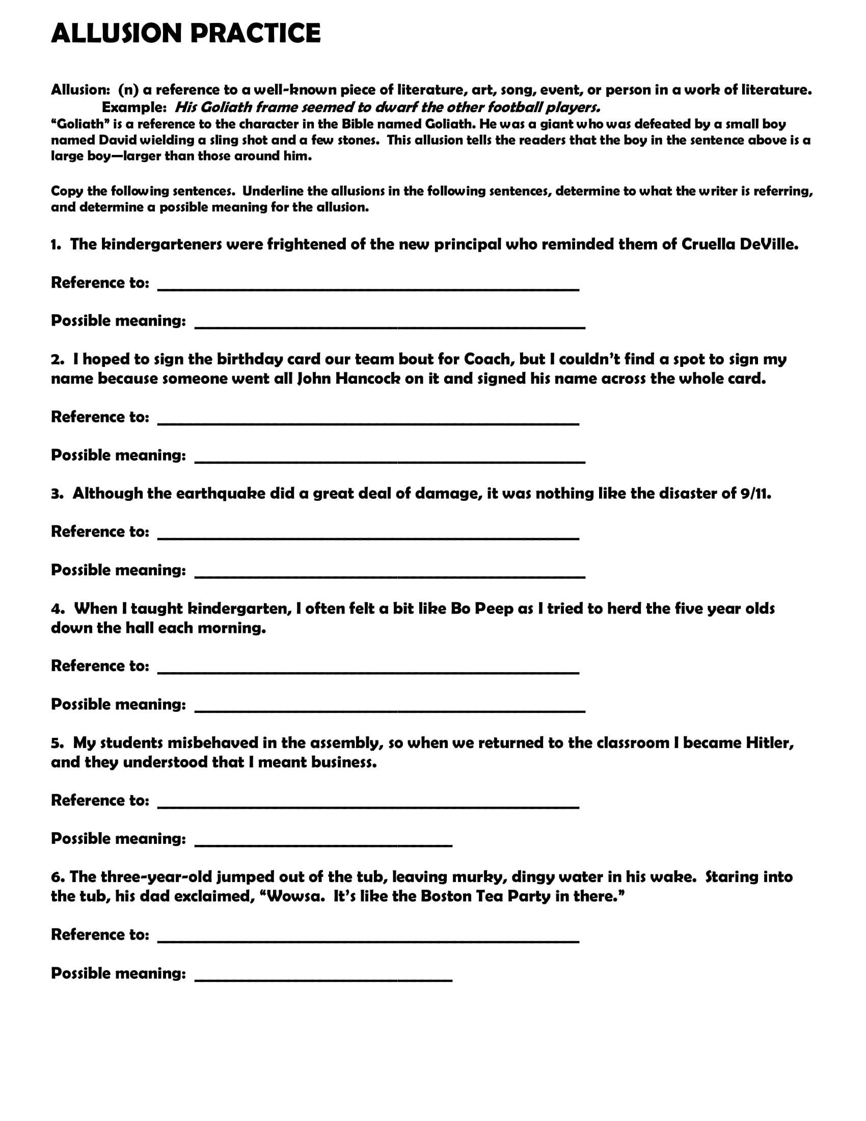 Allusion Worksheet For Middle School In