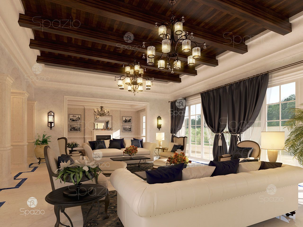 A Delightful Living Room Combining Several Styles Wooden Ceiling Decor Marble Soft White Luxury House Interior Design Interior Design Interior Design Dubai