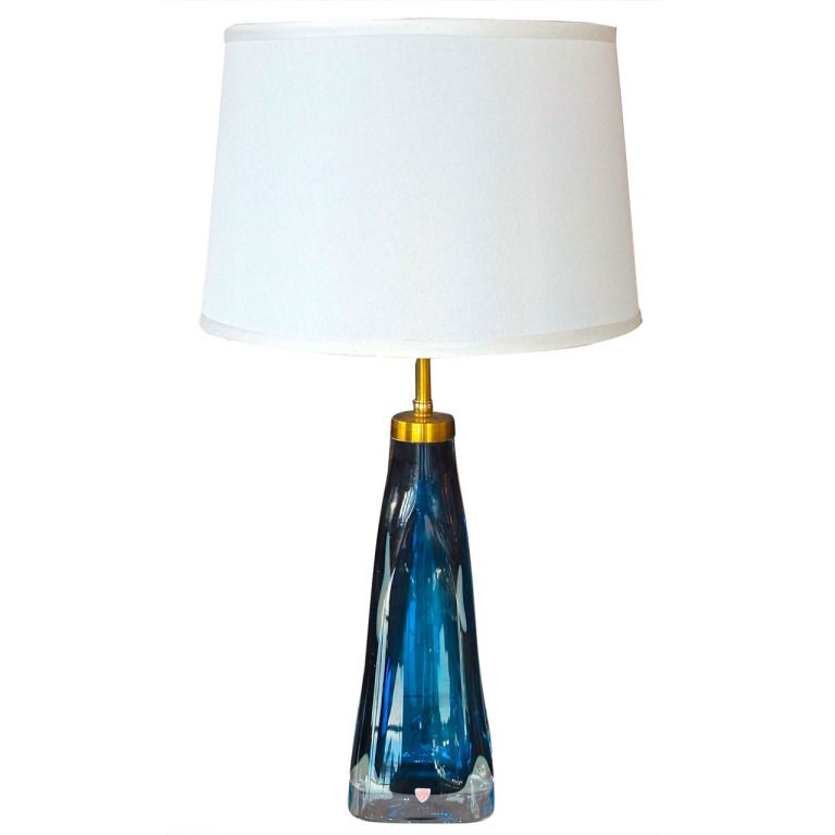 Carl Fagerlund For Orrefors Blue Glass Table Lamp Breezing