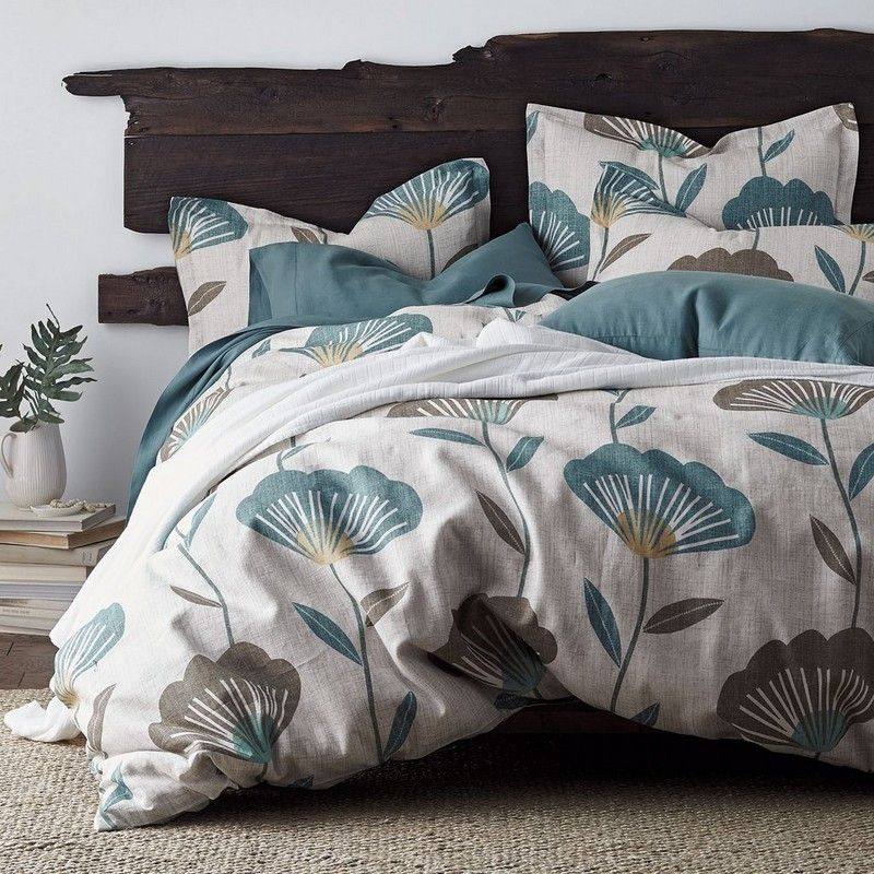 Sinclair Floral Linen Duvet Cover Larger Than Life Blooms Fan