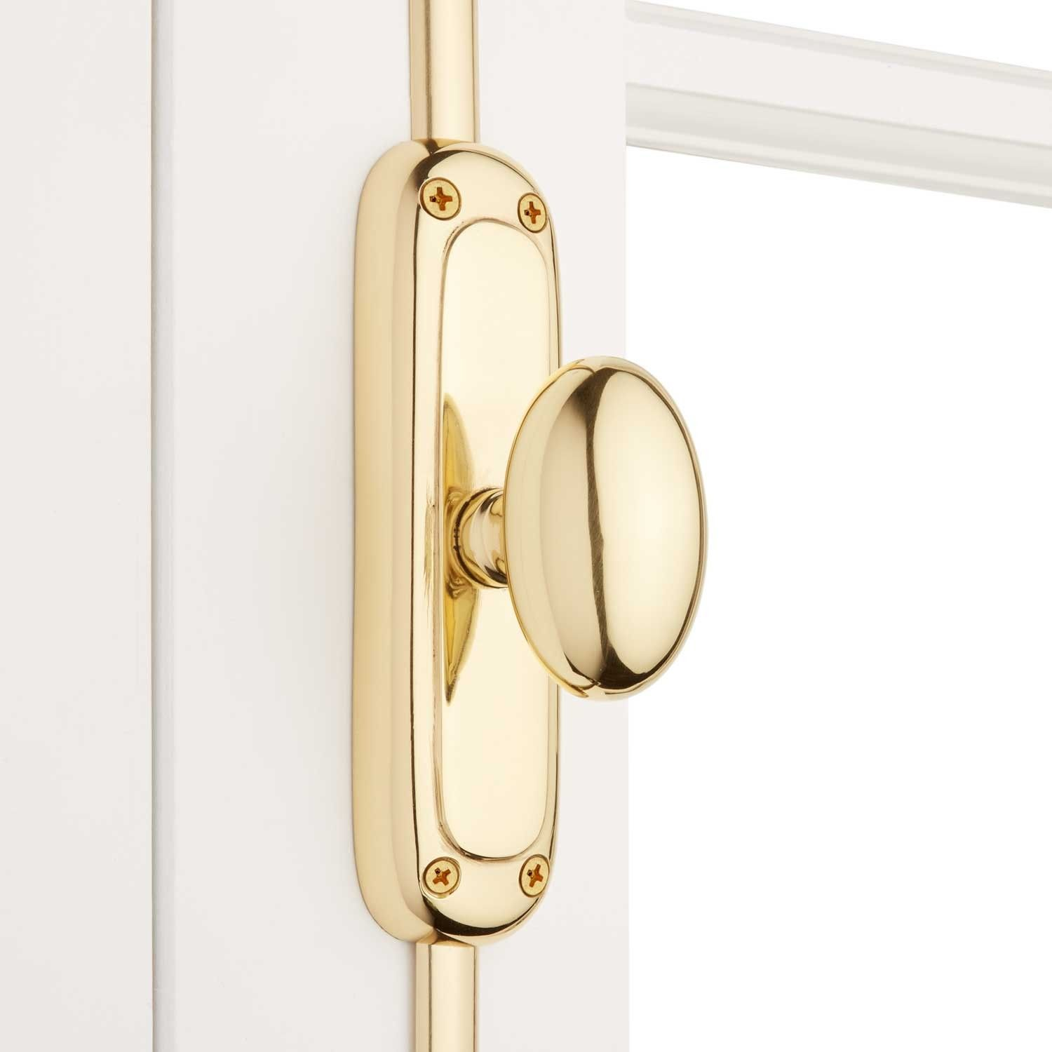 Solid Brass Classic Oval Cremone Bolt Cremone Bolt Signature Hardware Polished Brass
