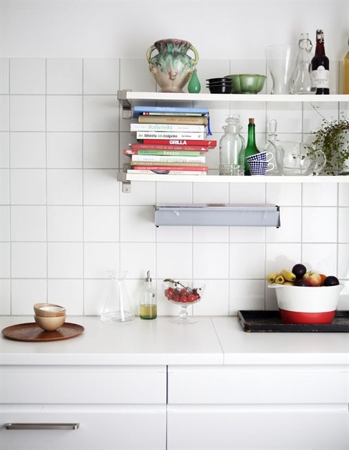 White on white kitchen with open shelving