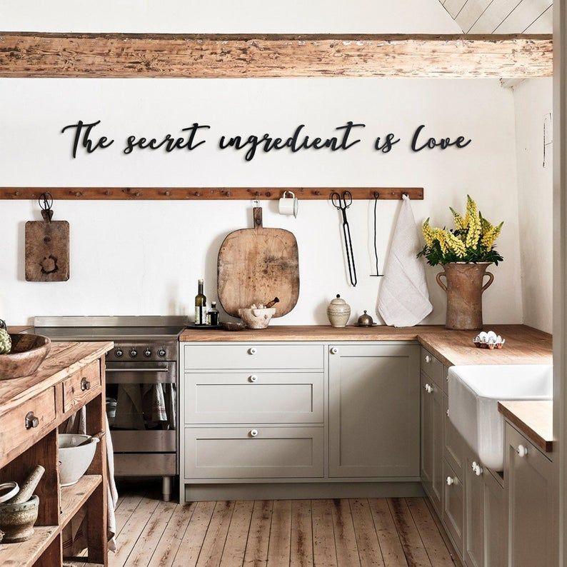 The Secret Ingredient Is Love Metal Wall Art Cozy Kitchen Letters In 2021 Decor Farmhouse