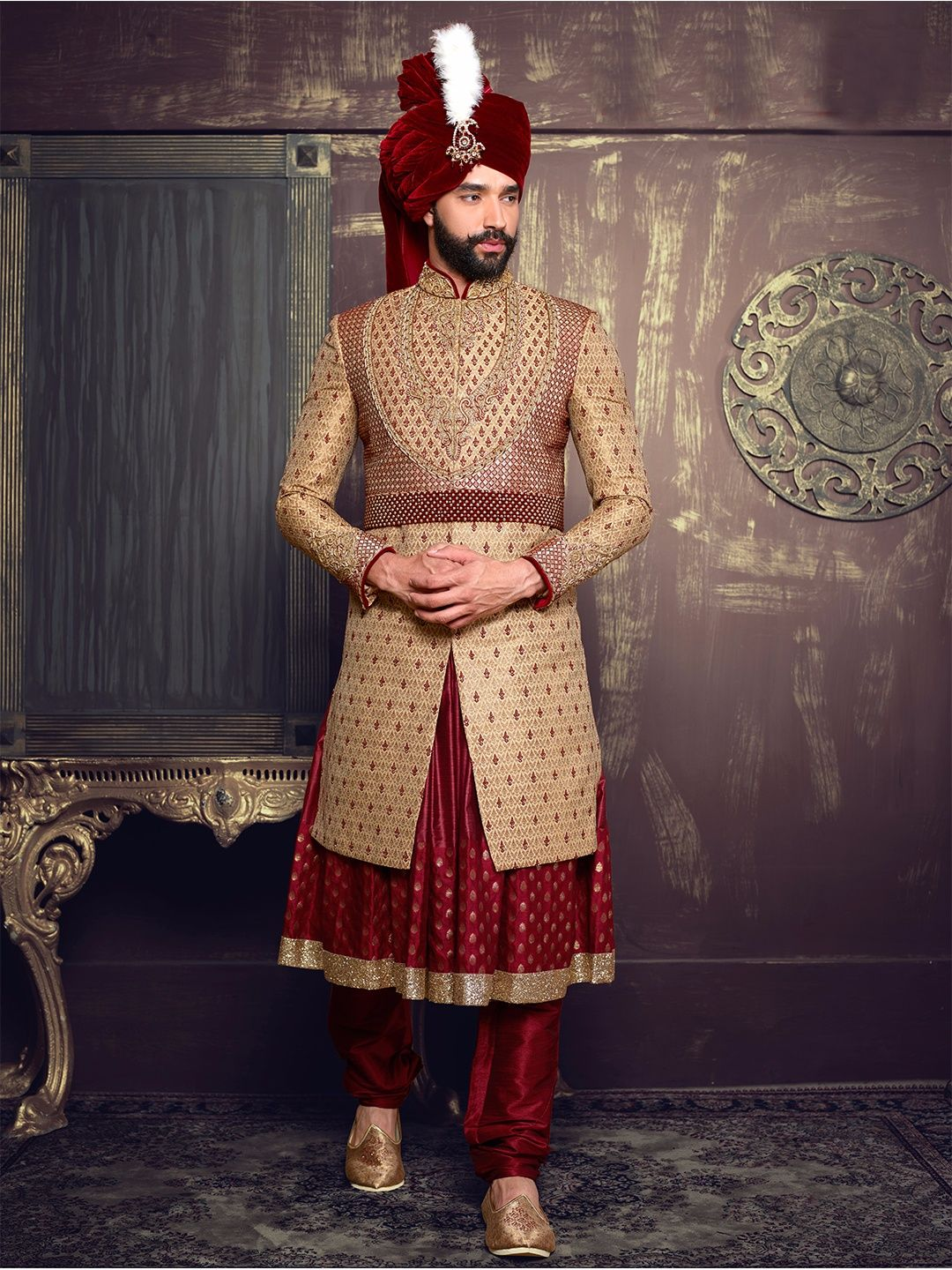 Beige maroon silk layered anarkali sherwani fashion pinterest
