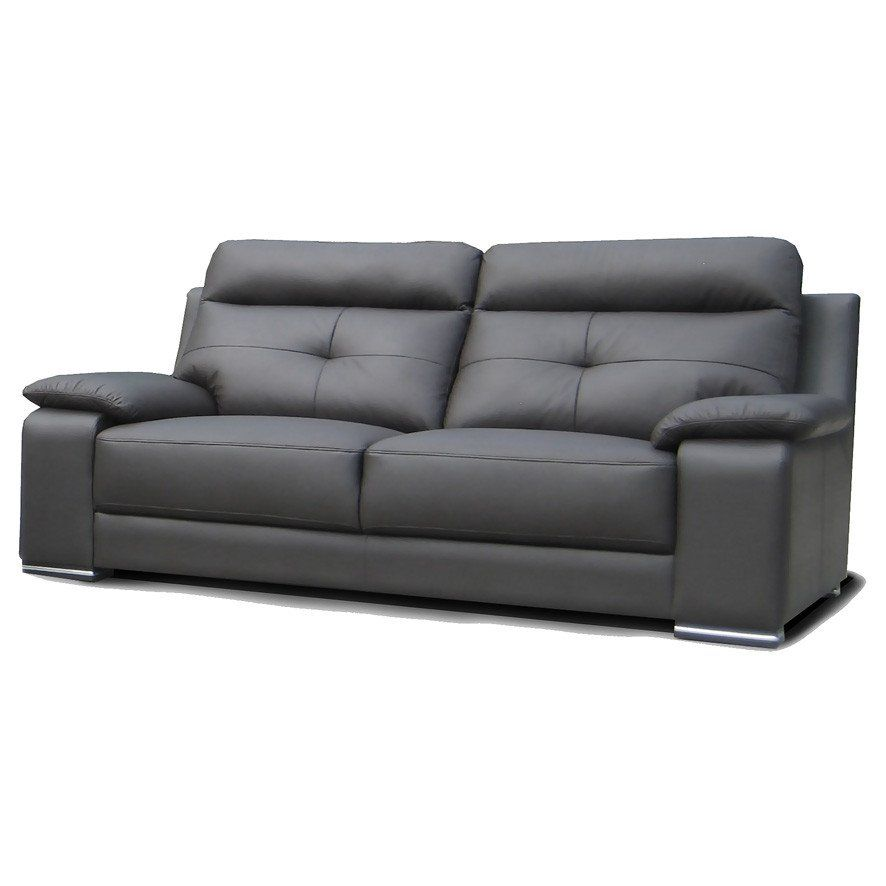 Kenyo Leather 3 Seater Sofa Couch with Chrome Legs and Brown ...