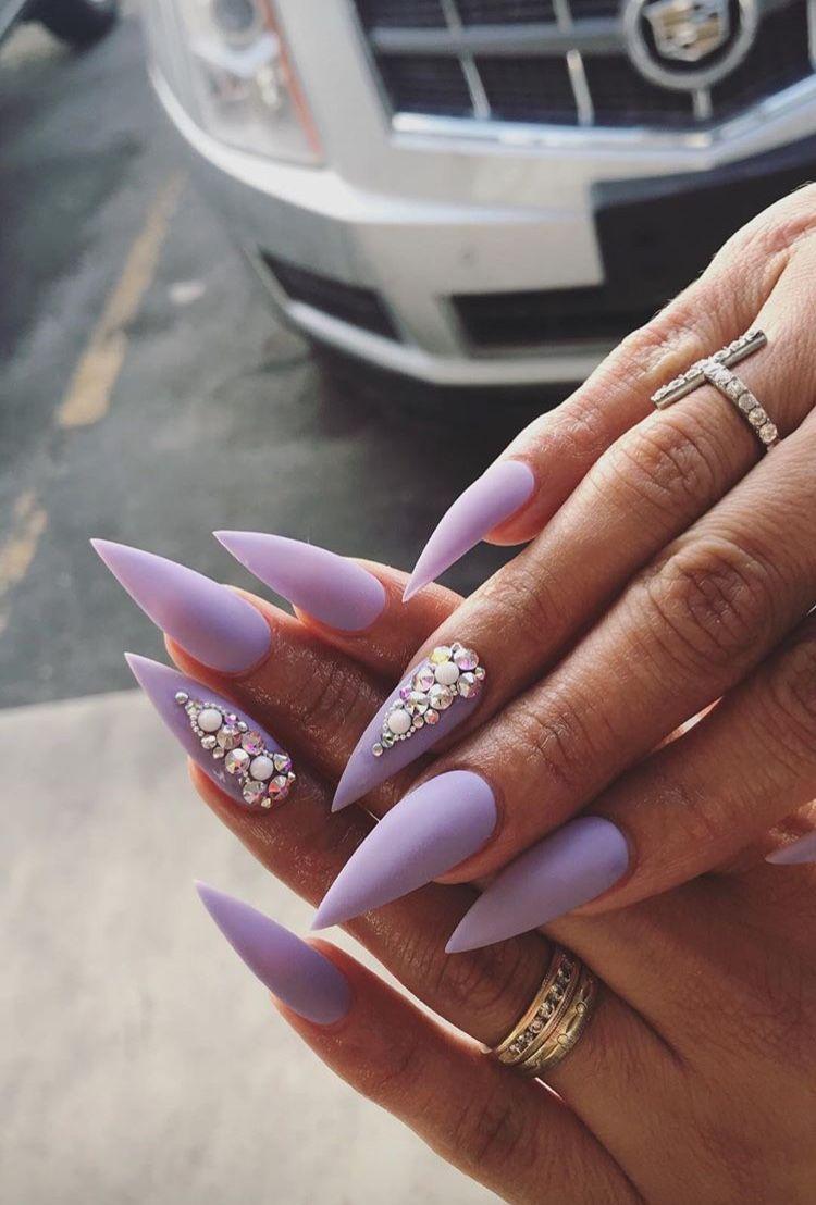 Matte Purple Stiletto Nails Matte Purple Nails Purple Nails