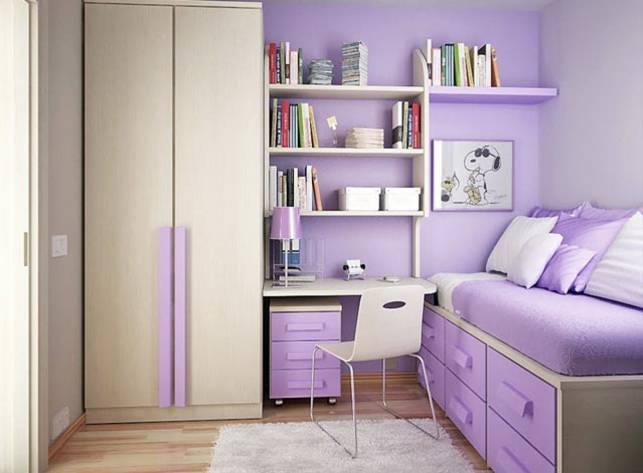 inspiring small bedroom ideas for teenage girls with purple colors theme and carpet decoration on wooden - Carpet Teen Room Decor