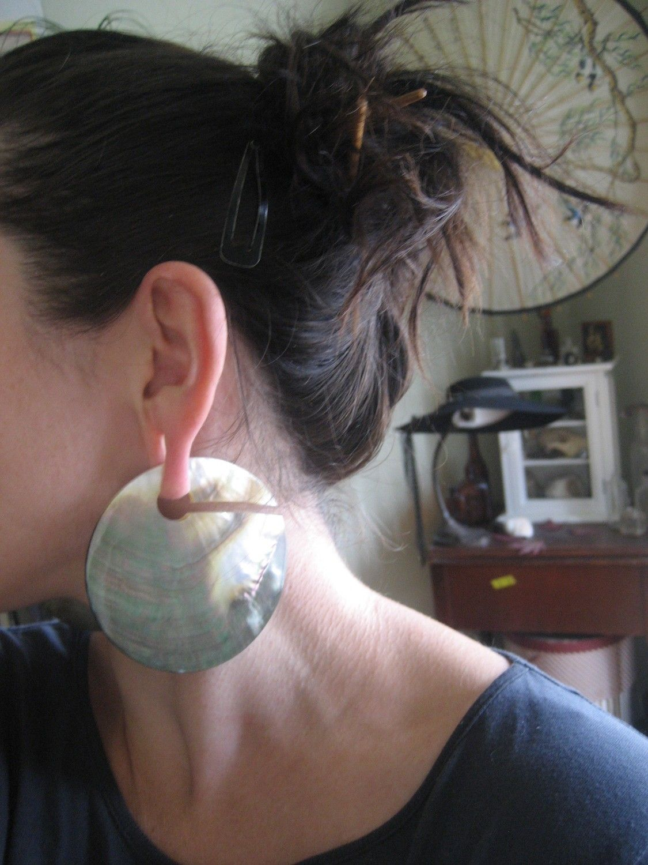 Beautiful Large Gauge Abalone Ear Weights 75 00 Via Etsy