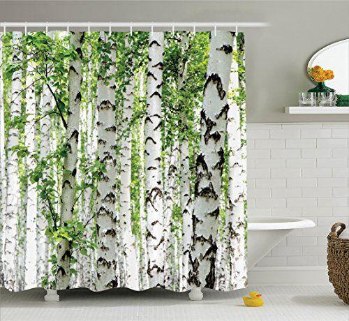 Woodland Decor Shower Curtain Set By Ambesonne Birch Tre Https Www Amazon Com Dp B01jsajn1o Custom Shower Curtains Decorating With Pictures Custom Shower