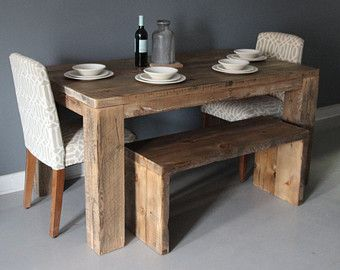 Solid Reclaimed Wood Bench Handmade Furniture Diningdendroco New Handmade Dining Room Tables Review