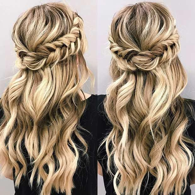 11 More Beautiful Hairstyle Ideas For Prom Night 3 Half Up Half Down Braids For Long Hair Hair Styles Wedding Hair Down
