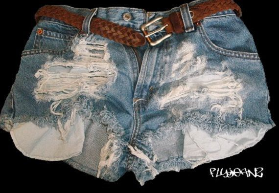 Extreme Frayed and distressed vintage denim shorts by FlyJeanz, $40.00