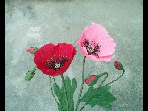How to make poppy flower from crepe paper craft tutorial youtube how to make poppy flower from crepe paper craft tutorial youtube mightylinksfo