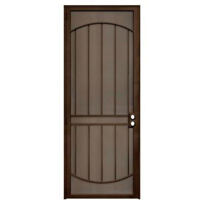 Unique Home Designs 36 In X 96 In Arcada Copper Surface Mount Left Hand Steel Security Door With Expanded Metal Screen Idr064096r2079 The Home Depot Unique House Design Metal Screen Doors Metal Screen