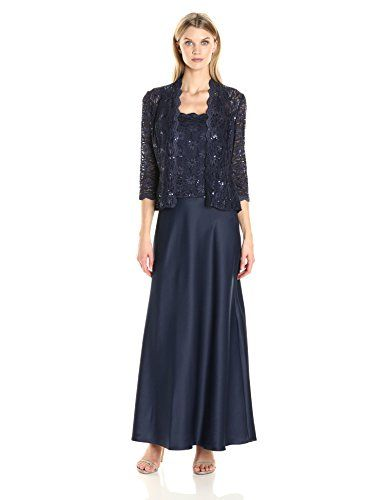 2f16c2224c80 Alex Evenings Womens Two Piece Dress with Lace Jacket Midnight 10 * Check  out this great