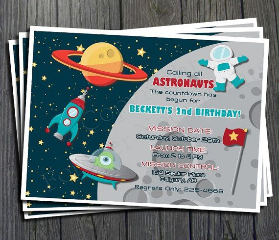Space birthday invitation free thank you card included for Space themed stationery