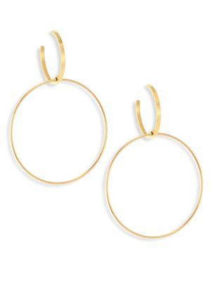 Lana Jewelry Bond Medium 14K Interlocking Flat Hoop Earrings DcZkXn