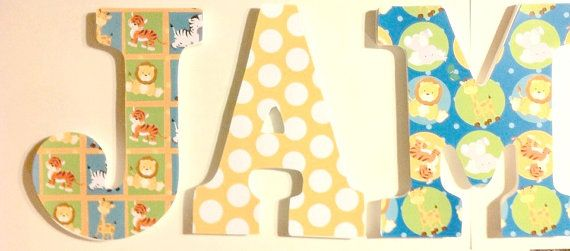 wall letters, baby nusery letters, animal theme letters, boys name ...
