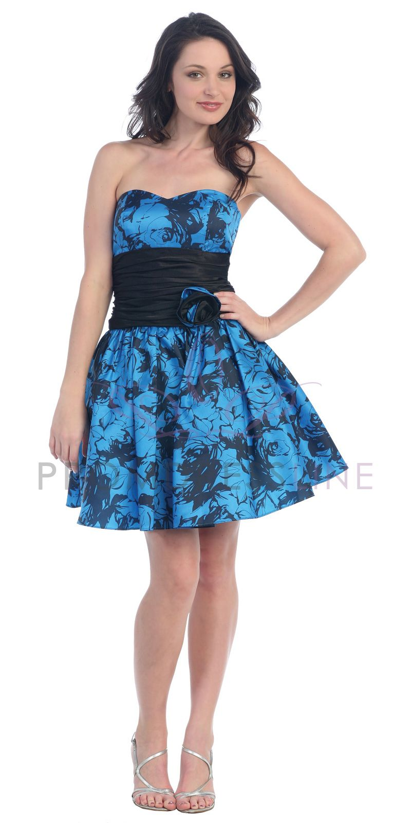 Black Floral Printed Blue Taffeta Strapless Sweetheart Gathered ...