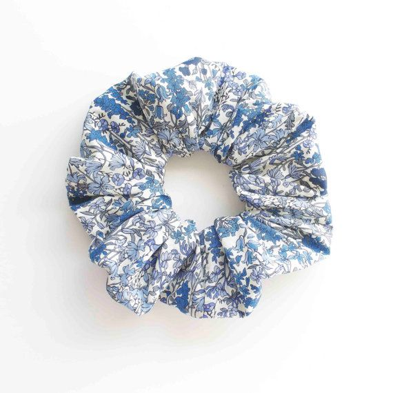 BLUE WHITE and FLORAL . Hair Scrunchy or Scrunchie. Blue by Smukie