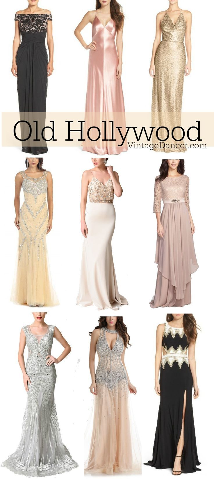 1930s evening dresses and gowns inspired by Old Hollywood fashion and glamour.