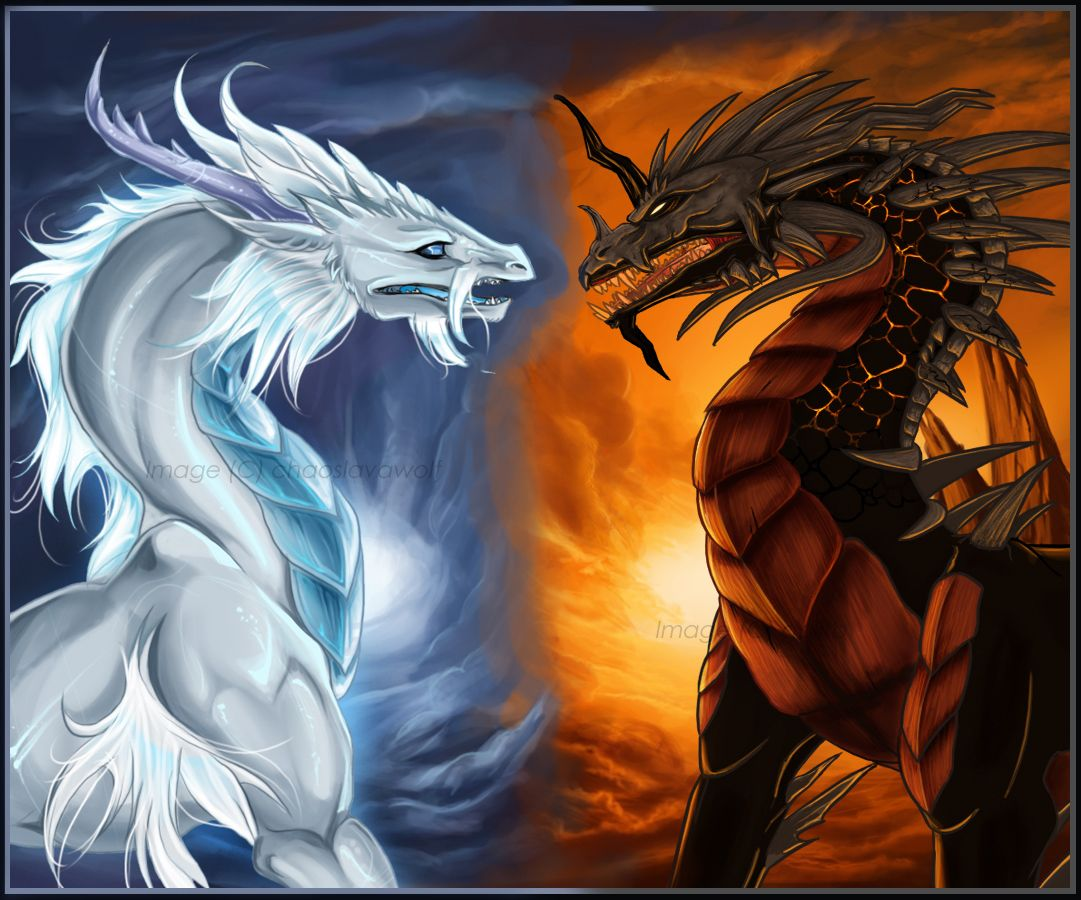 Evil Fire Dragon: Even Opisite Elemental Dragons Can Be Friends [white=snow