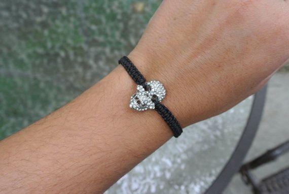 Black macrame skull bracelet by SilverCandy on Etsy, $30.00
