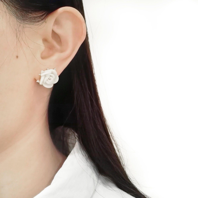 White Cloud Porcelain Rose Stud Earrings