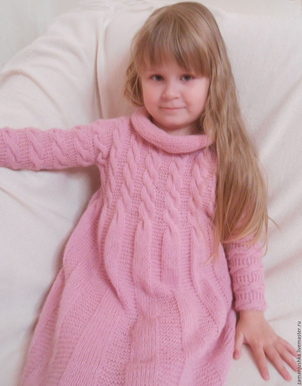 купить вязаное платье для девочки розовый платье для девочки