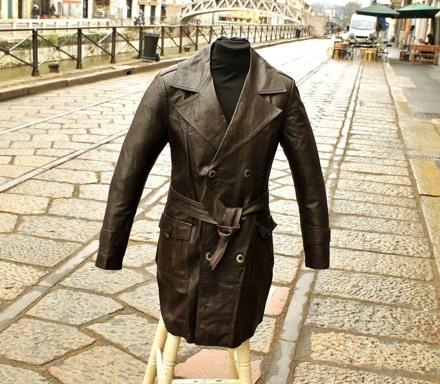 Trench coat cappotto in pelle marrone doppiopetto corto