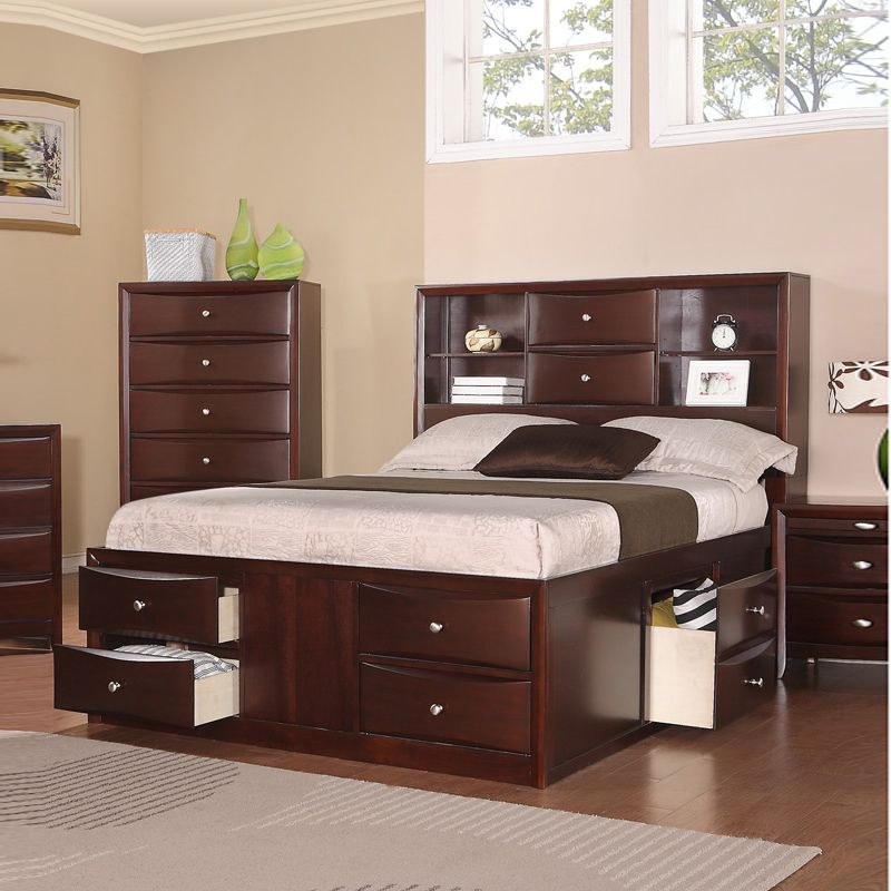 Queen Captains Bed With Bookcase Headboard And There Are Dresser ...