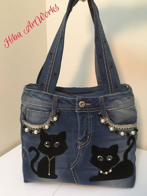Photo of Made to Order – Handmade Handbag for women, denim, jeans handbag, leather cats for cat lovers different colors