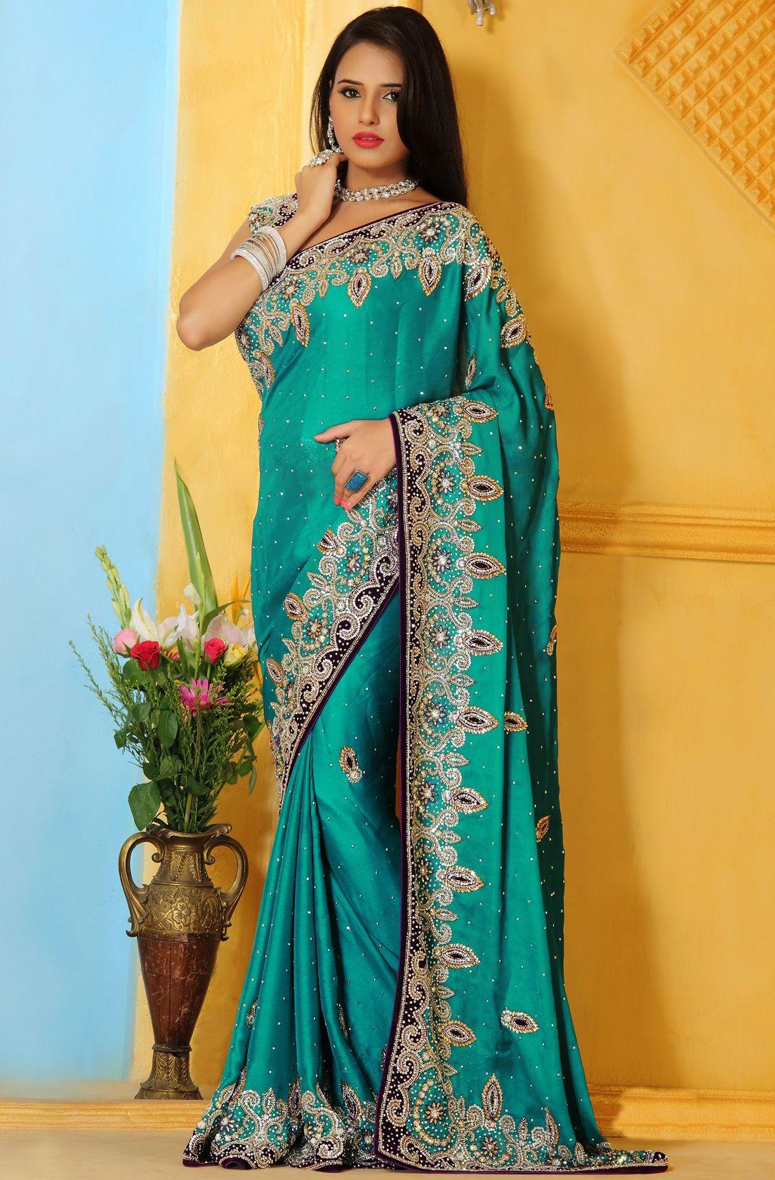 Indian Bridal #Turquoise #Satin Saree with #Blouse   @ $ 321.5 ...
