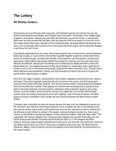 Essay: The Lottery by Shirley Jackson – Essay Xperts