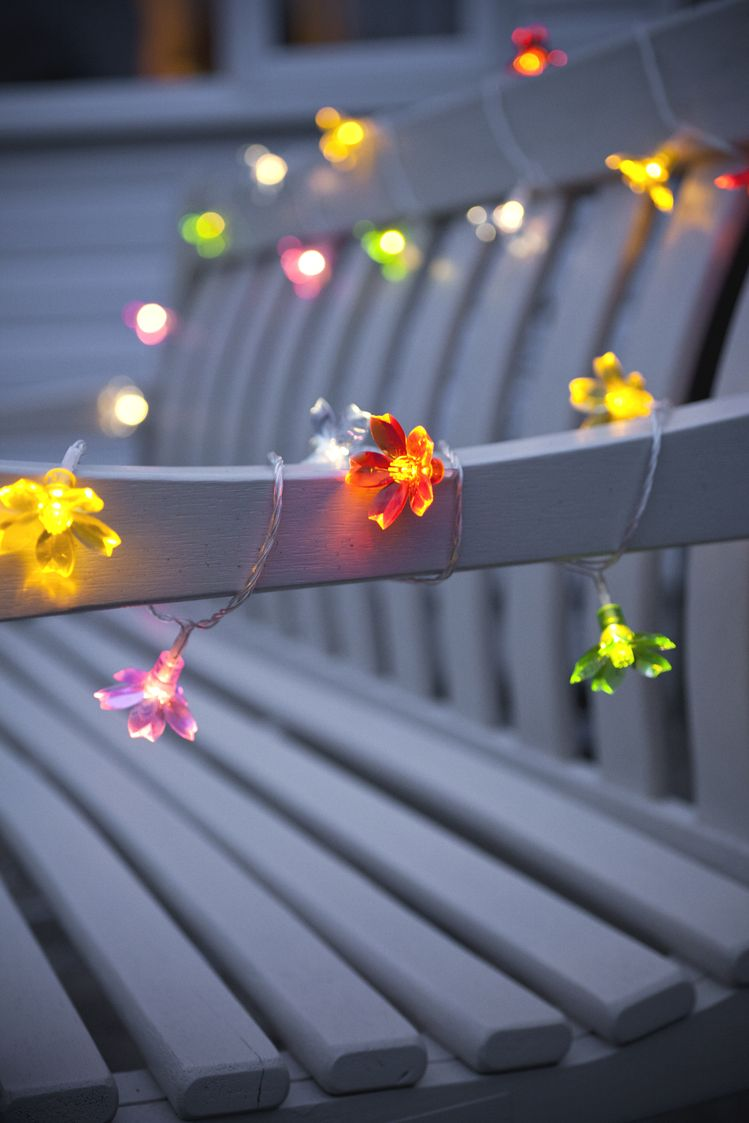 multi coloured outdoor flower fairy lights by lights4fun. Black Bedroom Furniture Sets. Home Design Ideas