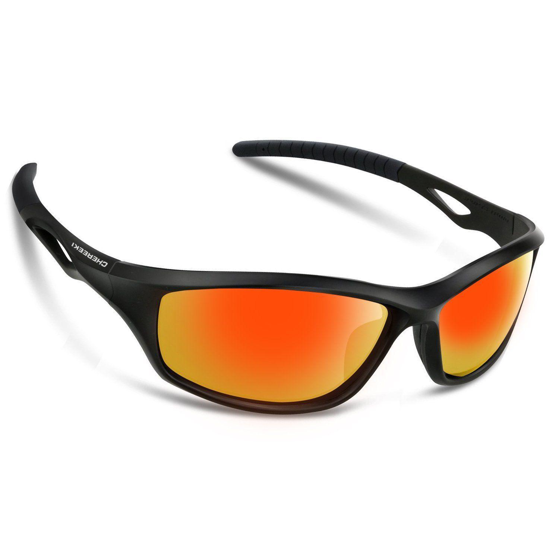 Lunettes de soleil Chereeki polarisées avec protection UV 400et cadre TR90incassable, unisexe, pour le sport, la pêche, le ski, la conduite, le golf, la course à pied, le cyclisme, le camping, Red