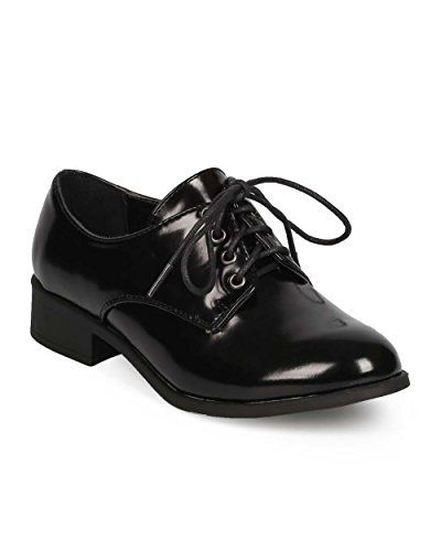 Women Polished Leatherette Classic Lace Up Oxford