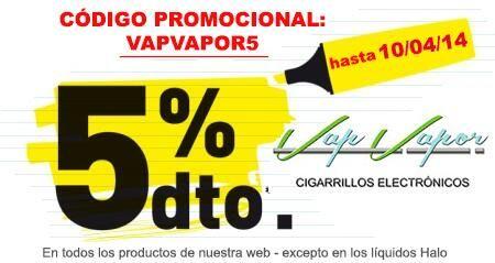 5% descuento en www.vapvapor.es Código Promocional Vap Vapor para todos los productos de la tienda (excepto líquidos Halo) hasta el 10/04/2014 Aprovecha!