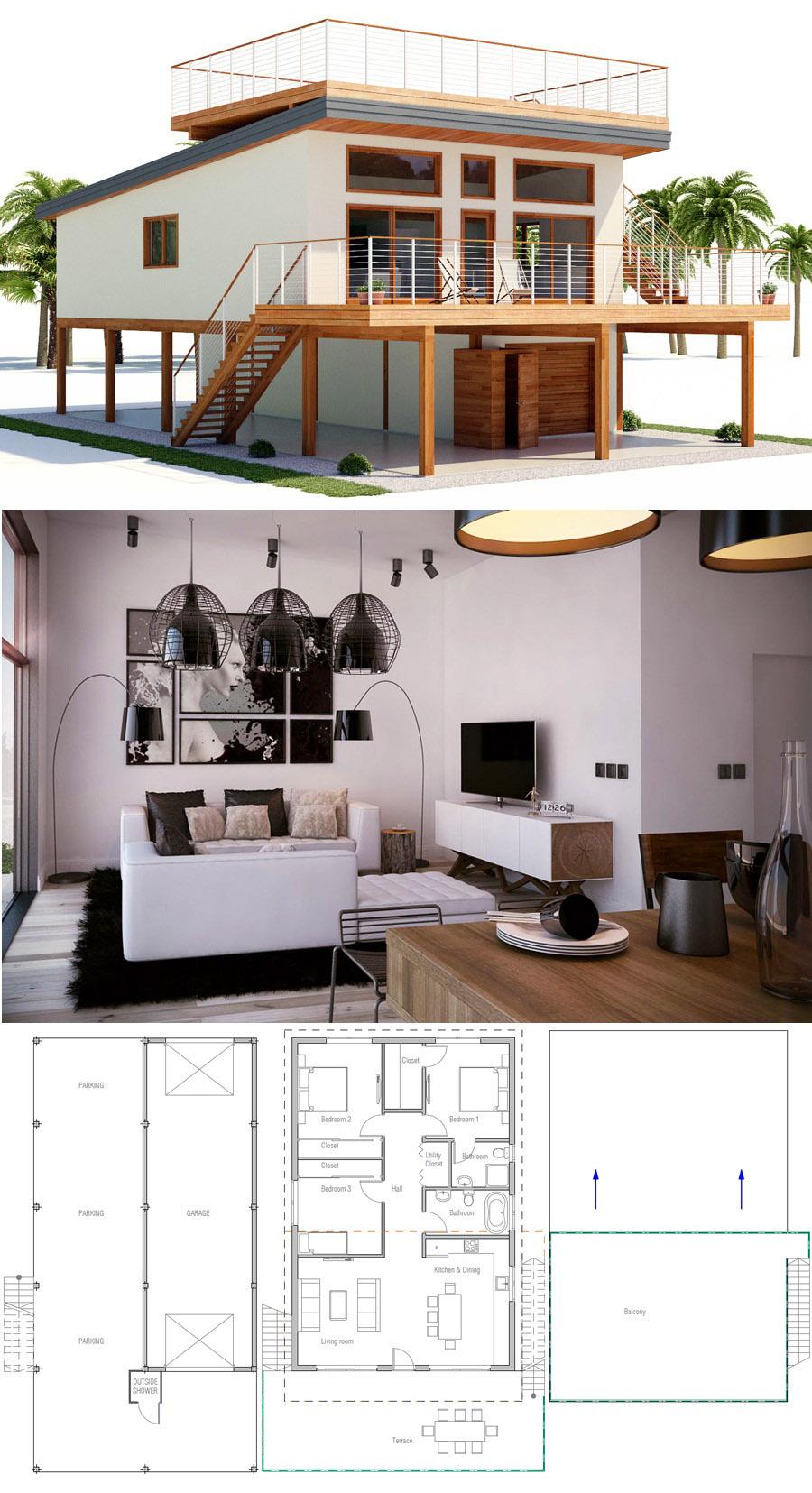 House Plan Ch464 Modern House Plans House House Styles