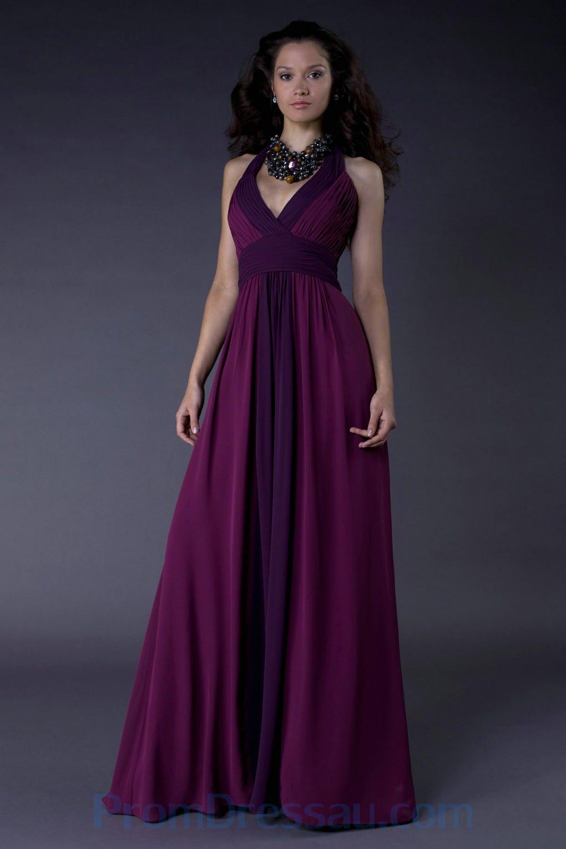 Deep v neck halter chiffon plum purple bonny bridesmaid dress uk
