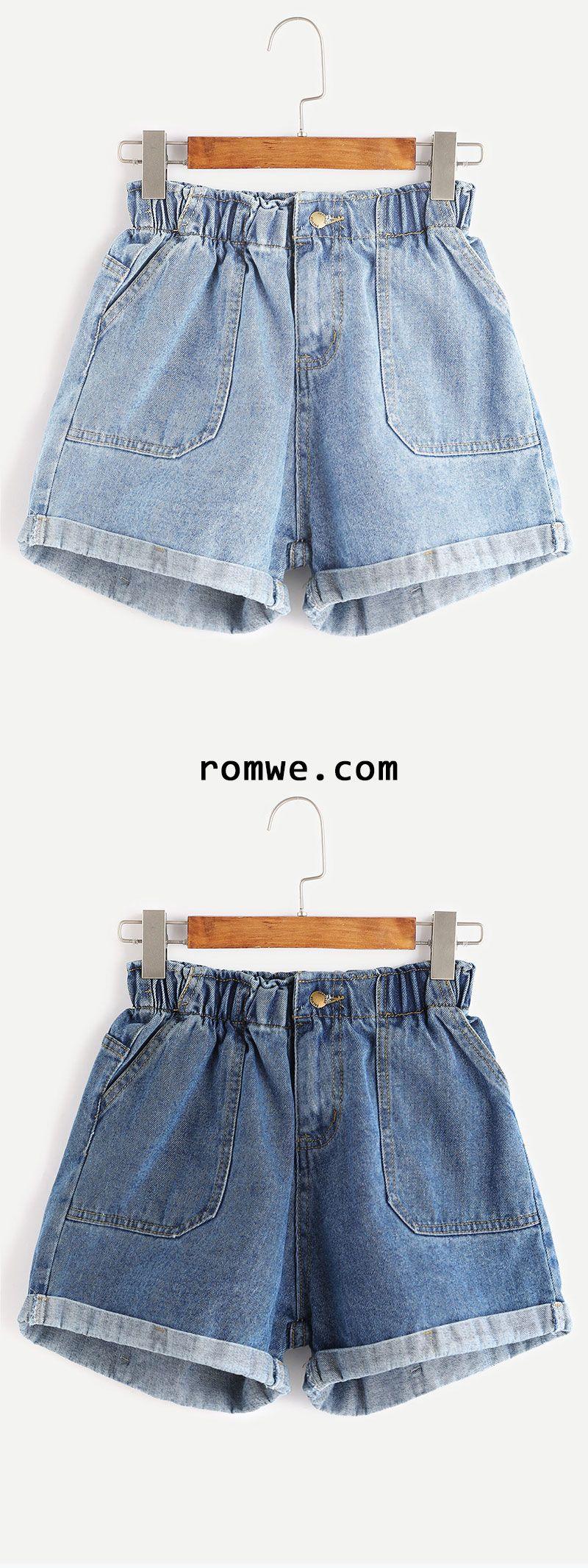 218b4235d827 Blue Elastic Waist Rolled Hem Denim Shorts | i'd wear that | Fashion ...