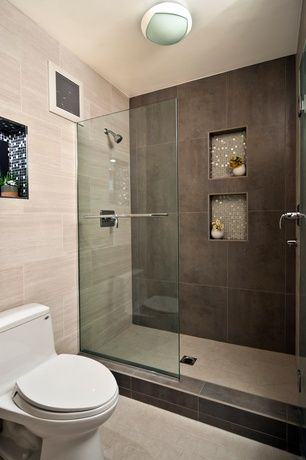 Modern Master Bathroom With Glass Mosaic Tile, Daltile Concrete Connection  Eastside Brown Field Tile,
