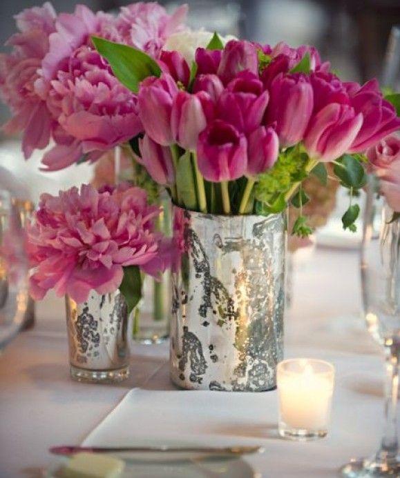 Blue Flowers In Mercury Vases Unique Vase Filler Idea Reception
