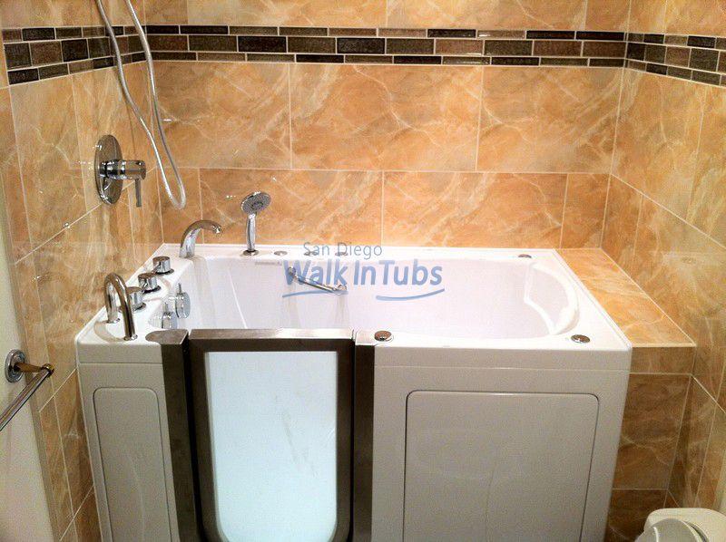 Left Hand Walk In Tub With Full Ceramic Tile Installation Walk